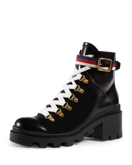 a45ac22fd Gucci Grosgrain-Trimmed Leather Ankle Boots In Black   ModeSens