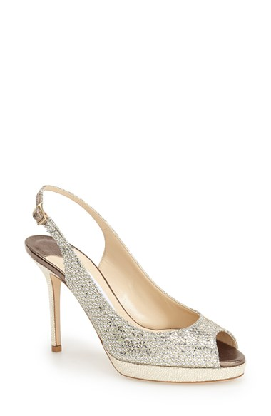 Jimmy Choo 'Clue' Glitter Slingback Pump (Nordstrom Exclusive Color) In Champagne Glitter Fabric