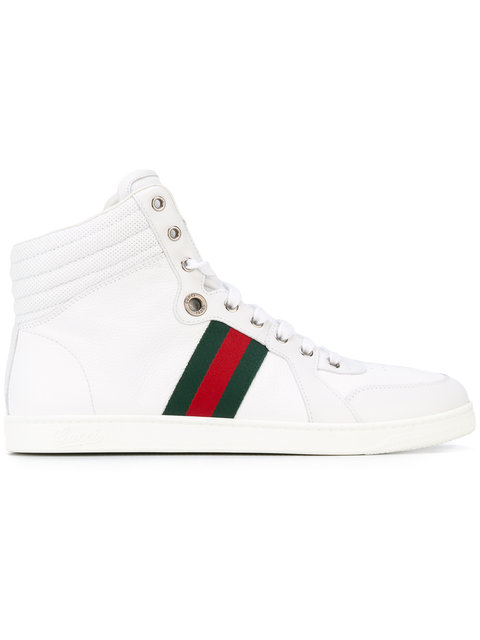 d6e88b357aa Gucci White Leather Web Stripe  Alta Coda  High Top Sneakers