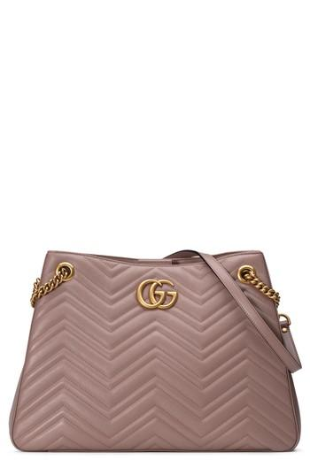 25deff8fe53a61 Gucci Gg Marmont Matelasse Leather Shoulder Bag - Coral In Nude ...