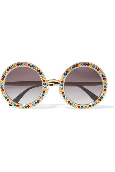 aef6dac8449 Dolce   Gabbana Crystal-Embellished Round-Frame Gold-Tone Sunglasses In Gold  Multi