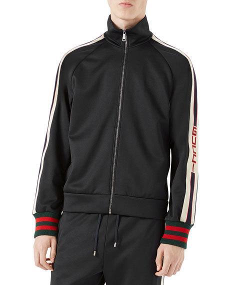 3afe82c44 Gucci Webbing-Trimmed Tech-Jersey Track Jacket - Black