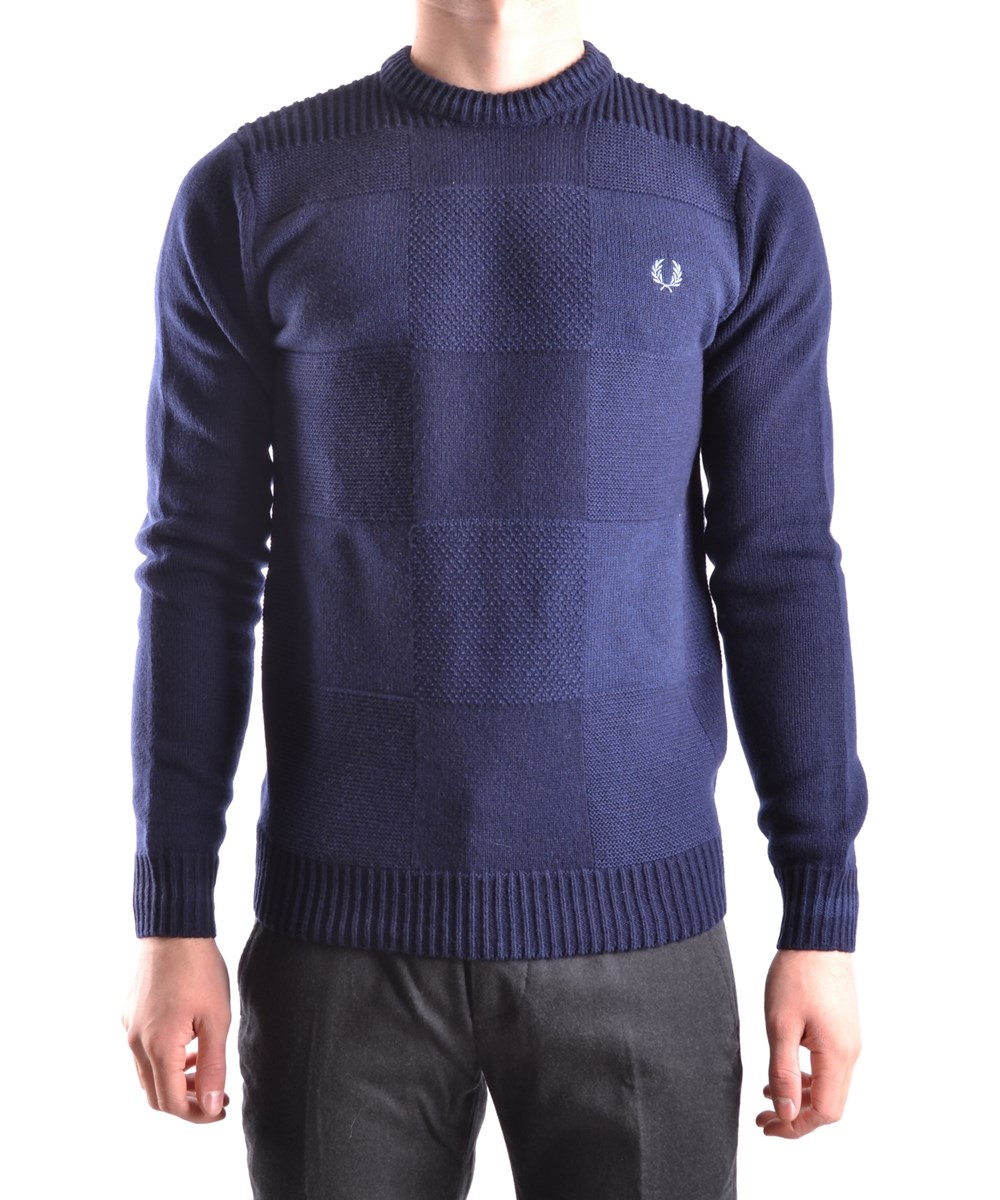 Fred Perry Men's  Blue Wool Sweater