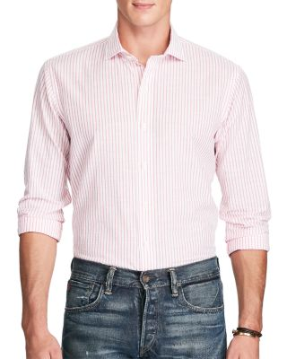 Polo Ralph Lauren Stripe Classic Fit Button-down Shirt In Rose Pink/white