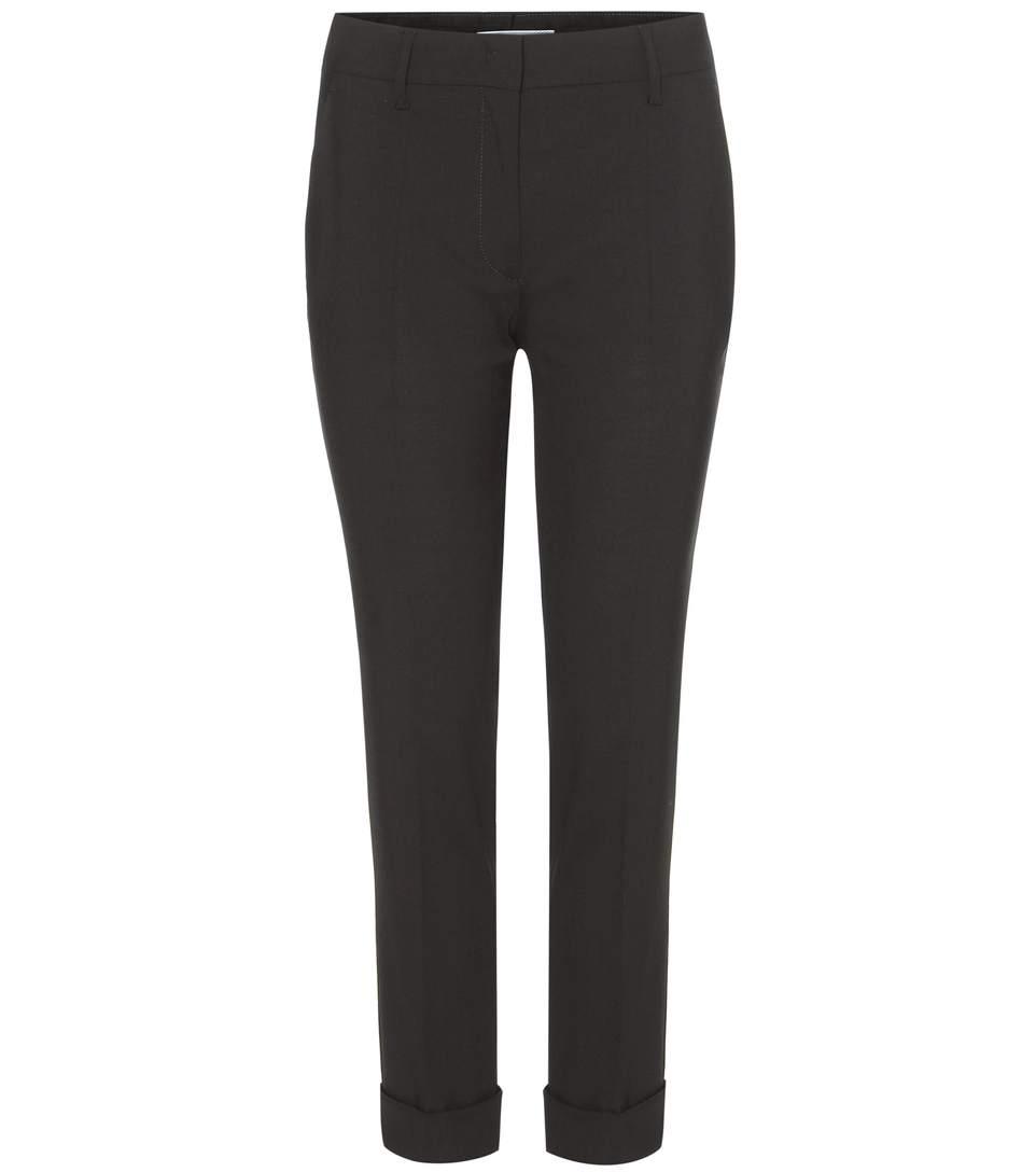 Prada Satin Belt Wool Trousers In Black