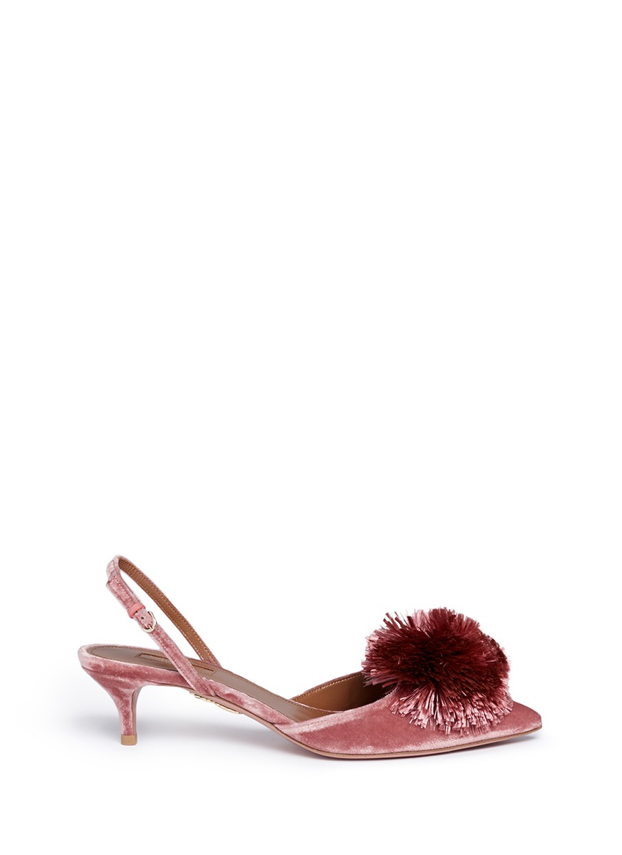 b9674e36fa Aquazzura 'Powder Puff 45' Pompom Slingback Velvet Pumps In Powder Pink