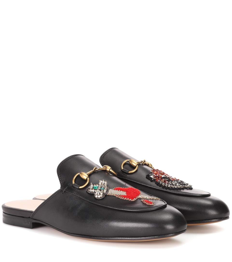7c6e15740e9 Gucci Princetown AppliquÉD Embellished Leather Slippers In Black ...