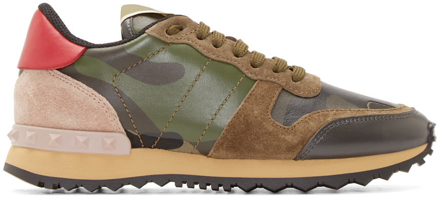Valentino Camouflage Canvas & Suede Trainers In Army Green Camo In Multi