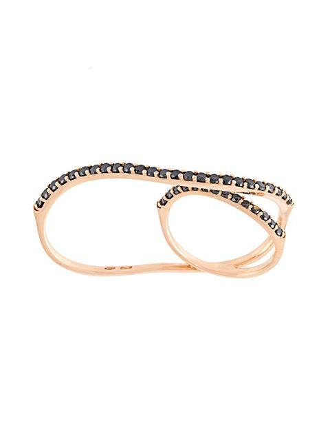 Anapsara 'Eclipse' Black Diamond Ring In Metallic