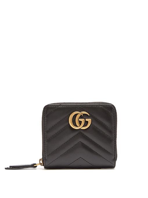 f32163376243 Gucci Black Mini Gg Marmont 2.0 Zip Around Wallet   ModeSens