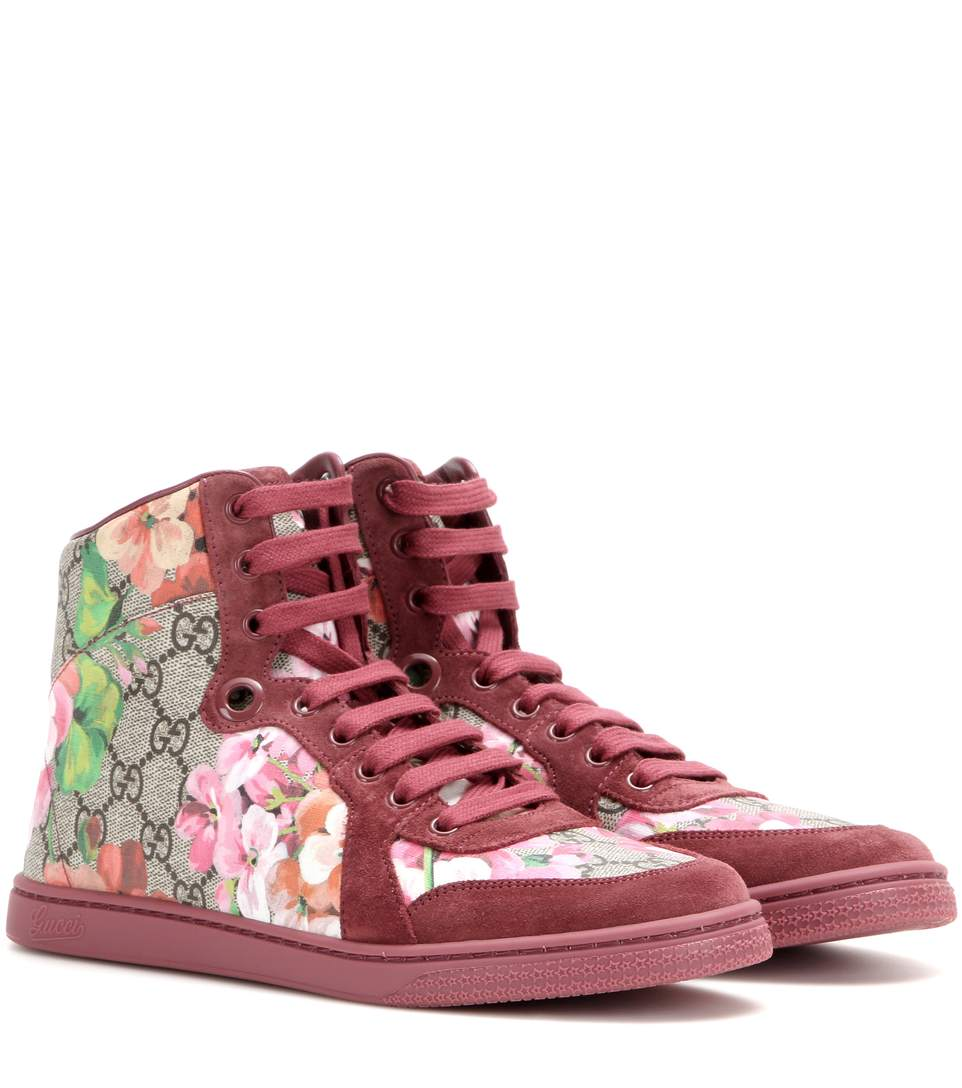 ccf2157b9cc Gucci Coda Gg Blooms Printed Leather And Suede High-Top Sneakers In ...