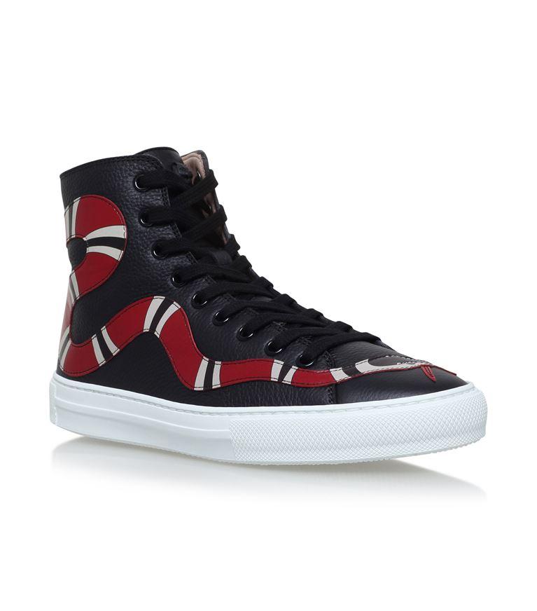 3749f620abf Gucci Leather Kingsnake High-Top Sneaker In Black