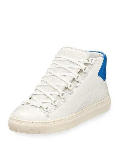 973ca42fba242 Balenciaga Men s Arena Leather Mid-Top Sneakers In White