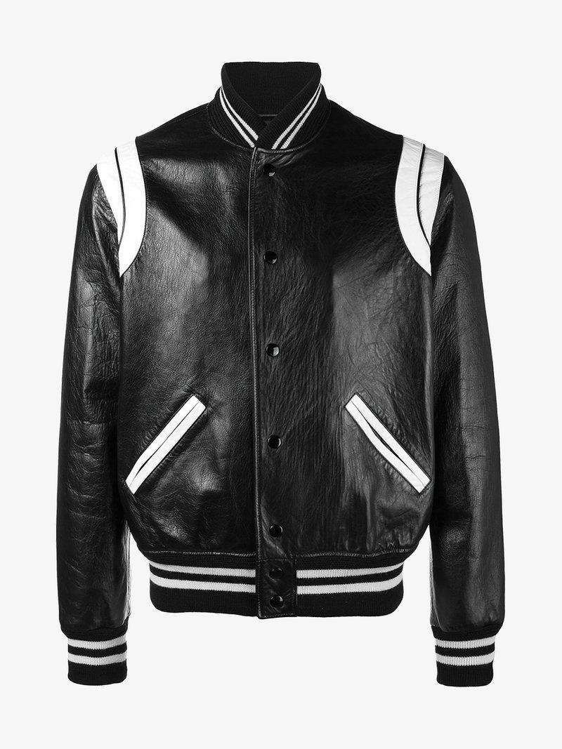 5511b8356ad Saint Laurent Black & White Leather Teddy Bomber Jacket | ModeSens