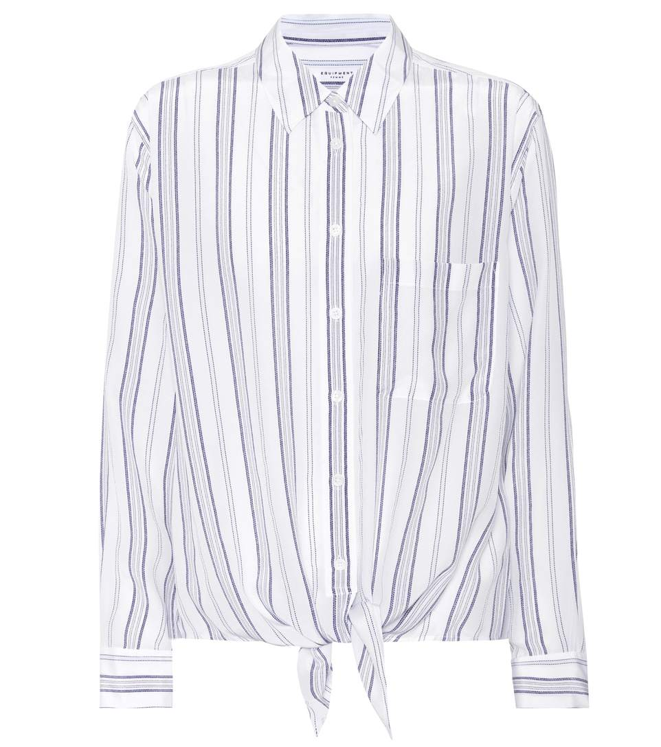 930ff077330d4c Equipment Daddy Striped Tie-Front Silk Shirt In Bright White Seaside Blue