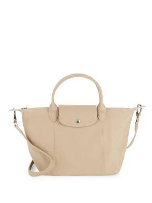 Longchamp Le Pliage Cuir Small Handbag In Greige
