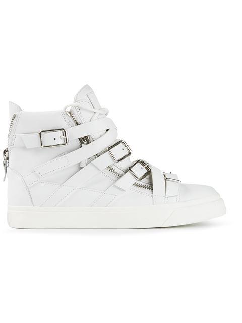Giuseppe Zanotti Buckle Hi-Top Sneakers In White