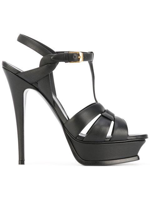 Saint Laurent Tribute 105mm Patent Leather Platform Sandals In Black