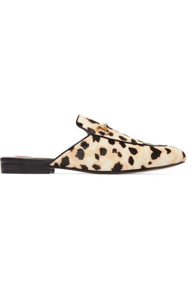 367fa1c38e8 Gucci Princetown Horsebit-Detailed Leopard-Print Calf Hair Slippers In  Leopard Print