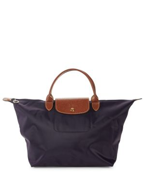 Longchamp Le Pliage Top Handled Tote In Dark Purple