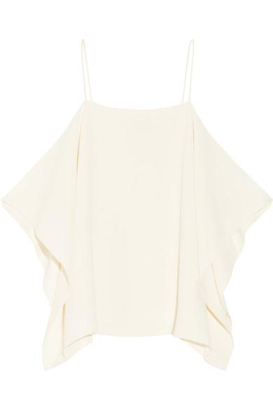 Theory Petteri Cold-shoulder Crepe De Chine Top In Ivory