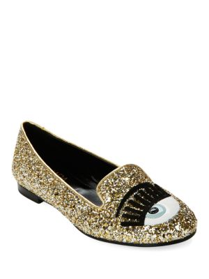 Chiara Ferragni Blink Eye Glitter Loafers In Gold/platinum
