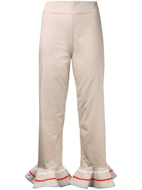 Anna October Flared Trim Cropped Trousers - Neutrals