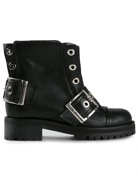 Alexander Mcqueen Black Leather New 39s Wolf Biker Boots In Llack