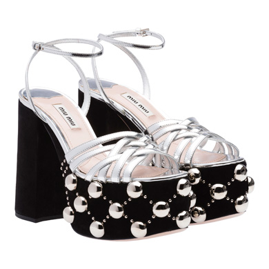 206b4e48f2fb Miu Miu Metallic Leather And Studded Suede Platform Sandals In Black ...