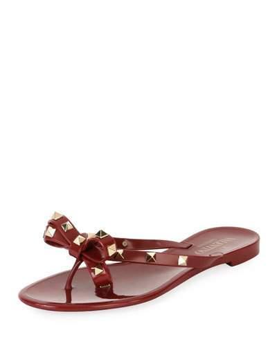b07d2e2aa68 Valentino Jelly Rockstud Flat Thong Sandals In Dark Red