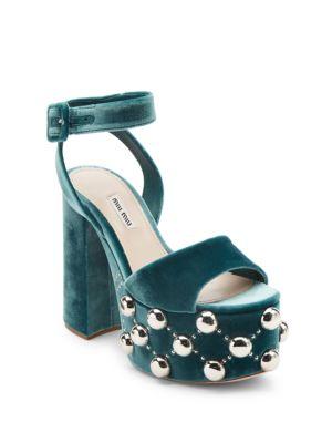 23262f36034 Miu Miu Studded Velvet Ankle-Strap Platform Sandals In Green