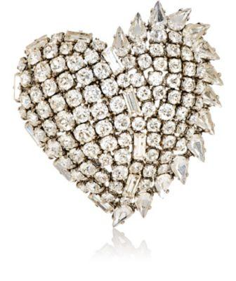 7c9d1278cb1 Saint Laurent Smoking Heart Brooch In Silver Brass And Clear Crystal In  Metallic