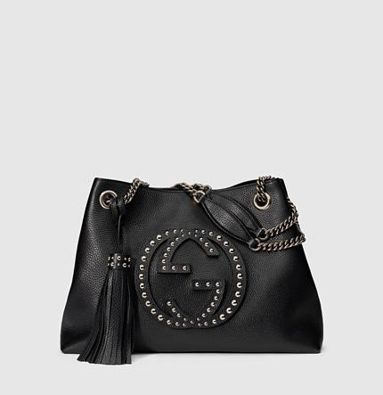 57af16dd4f8 Gucci Soho Chain-Strap Studded Leather Shoulder Bag