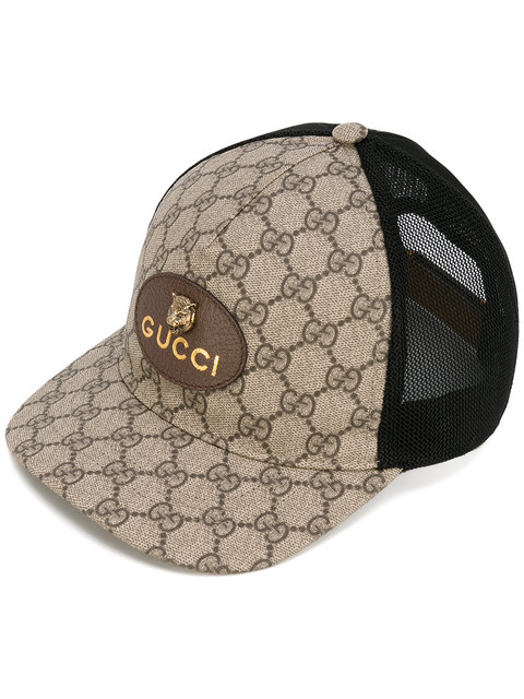 ab57034288fbb Gucci Gg Supreme Baseball Cap With Feline Head In Neutrals