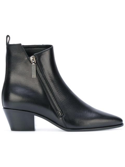 Saint Laurent Rock 40 Zip Ankle Boot In Black Leather