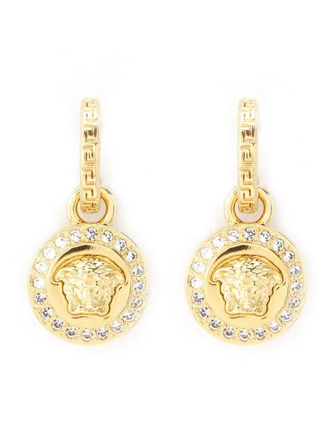 Versace Medusa And Crystal Drop Earrings In Gold