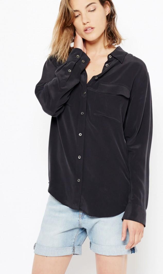 Equipment Slim Signature Silk Long-Sleeve Blouse, Black