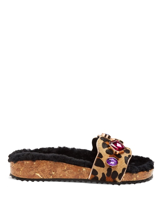 24333273978b Sophia Webster Lyla Embellished Leopard-Print Calf Hair And Shearling Slides  In Neutrals