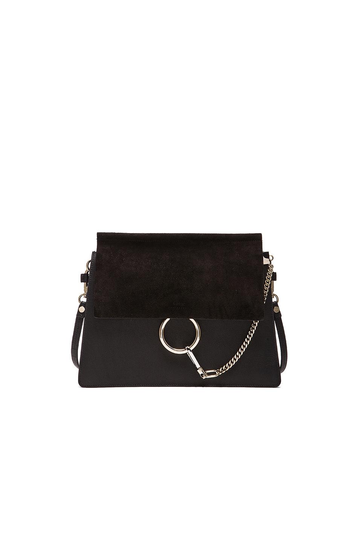 ChloÉ Chloe Medium Faye Suede & Calfskin Shoulder Bag In Black