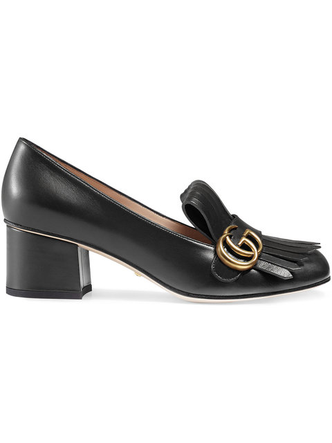 Gucci Loafer With Fringe Details On The Upper/mocassino Gg Frangia In Black