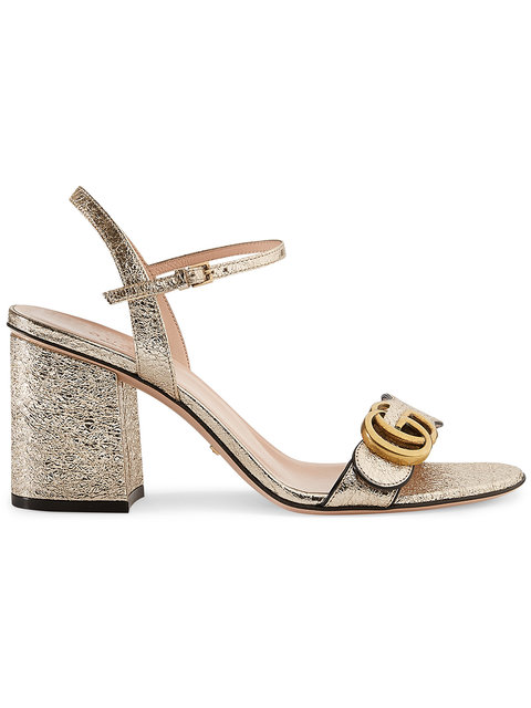 Gucci Marmont Logo-Embellished Metallic Cracked-Leather Sandals In 7100 Gold