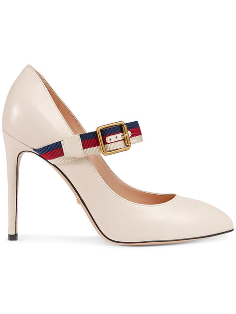 Gucci Sylvie Grosgrain-trimmed Leather Pumps In White Leather