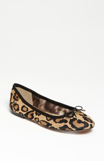b24505b01 Sam Edelman Women's Felicia Round Toe Leopard-Print Calf Hair Ballet Flats  In New Nude