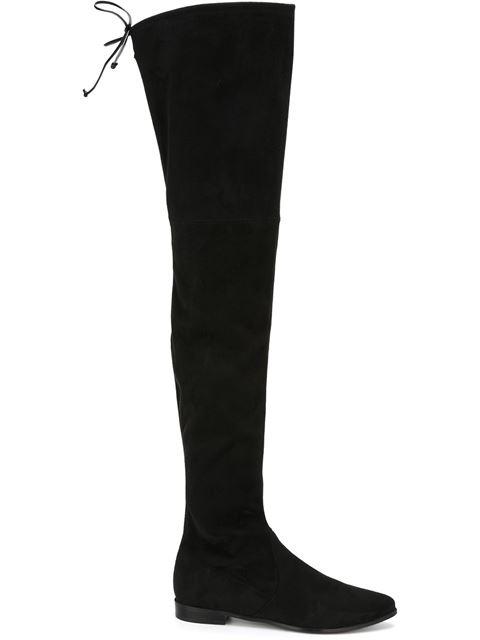Stuart Weitzman Leggylady Velvet Over-the-knee Boots In Black