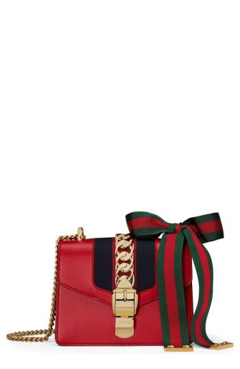 f2cdc6f2da060 Gucci Sylvie Mini Chain-Embellished Leather Shoulder Bag In Red ...