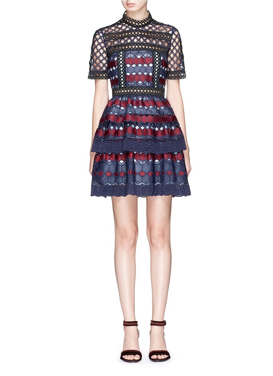 72f74aaff7f7f Self-Portrait Self Portrait Hexagon Lace Mini Dress In Multi | ModeSens