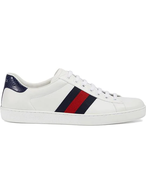 Gucci Ace Crocodile-trimmed Leather Sneakers In White