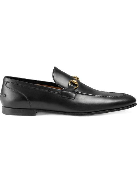Gucci Black Jordan Buckle Embellished Leather Loafers
