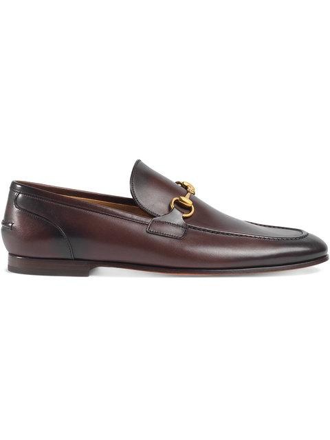 Gucci Jordaan Horsebit Burnished-leather Loafers In Brown