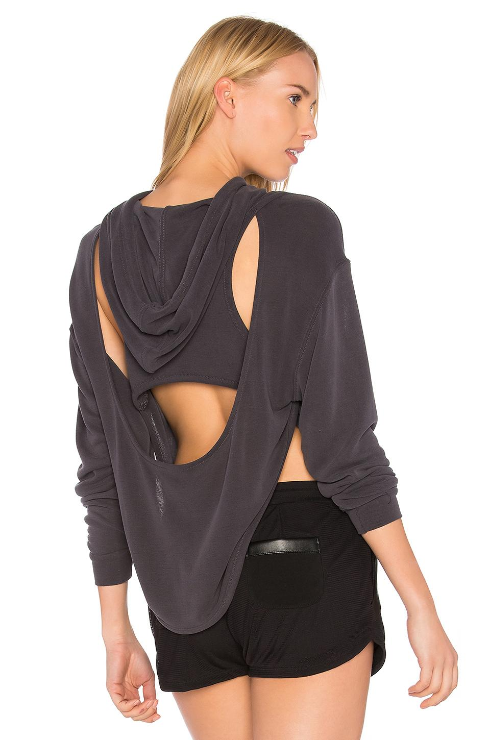 Free People Fp Movement Back Into It Cutout Hoodie In Black